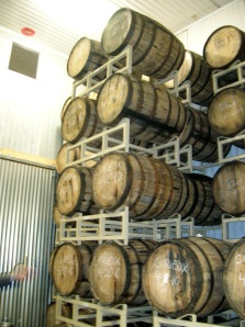 Beer-aging barrels at Allagash Brewery
