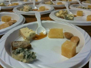 Cheese plate (left to right): Colston Bassett Stilton, dried Turkish figs, Roquefort Vieux Berger, Carlisle wildflower honey, Manchego Añejo, Marcona almonds and Parmigiano-Reggiano