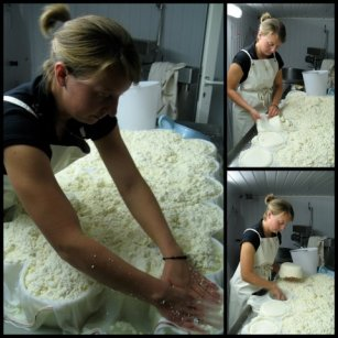 Murielle Burgat forming the cheeses