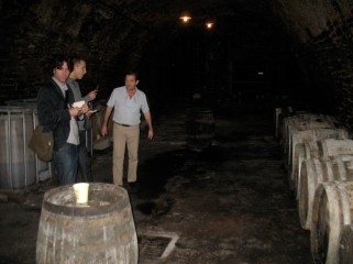 Kurt and David with Philippe Gonet in his cellar.