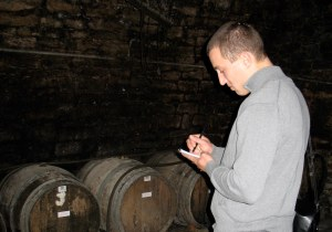 Taking notes in Philippe Gonet's cellar