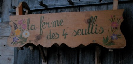 Farm sign at the Burgat's Alpage home