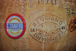 Side of a wheel of Parmigiano Reggiano Cravero