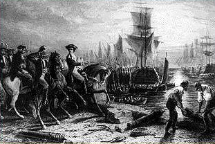 The British evacuating Boston Harbor: March 17, 1776