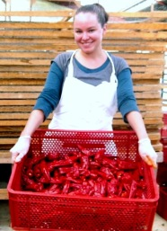 Julie with cleaned Piment d'Espelette peppers