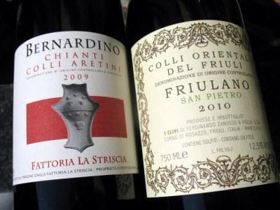 Fattoria La Striscia '09 Chianti Colli Aretini and I Clivi '10 Friulano San Pietro
