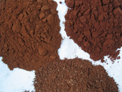 Three cocoas: Dutch-processed (L), Valrhona natural (R) and Les Confitures à l'Ancienne drinking cocoa (bottom)