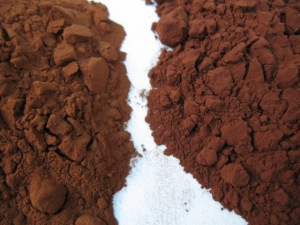 Dutch-processed (L) vs. Valrhona natural (R) cocoa