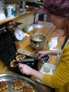 Alyssa making Belgian or Liège Waffles.