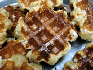 Belgian or Liège Waffles - hot off the waffle iron!