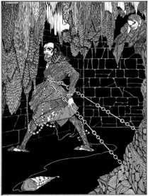 "Illustration for Edgar Allan Poe's story ""The Cask of Amontillado"" by Harry Clarke, published in 1919."