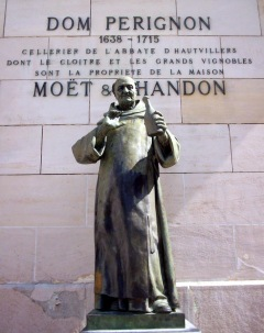 Dom Pérignon statue in Épernay in the Moët et Chandon courtyard.