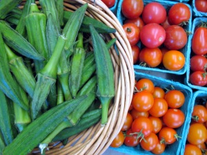 Okra and Cherry Tomatoes - Red Fire Farm