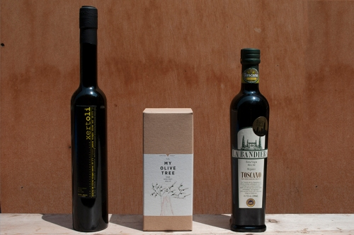 Three Olive Oils: Xertoli Coupage, My Olive Tree, La Bandiera Toscano