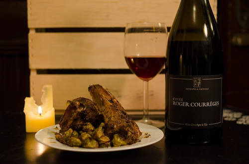 Domaine de Vaccelli Cuvée Roger 2009 with Meadowood Farm Lamb Chops and Red Fire Farm Brussels Sprouts.