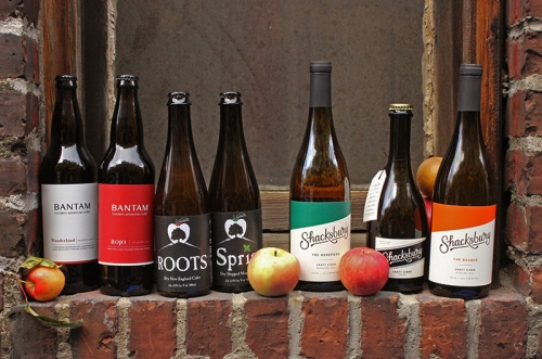 Some of our favorite cideries right now: (left to right) Bantam, Far From The Tree, and Shacksbury